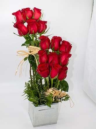 Rosas en escalera en base laton cuadrado